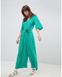 Monki - Seashell Print Tie Front Cropped Jumpsuit - Lyst
