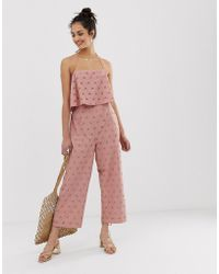 562a8e6cb967 Lyst - ASOS Jumpsuit With Palazzo Pants And Embellished Over Layer ...