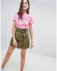 Bershka - Double Breasted Tie Waist Mini Skirt In Green - Lyst
