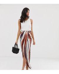 b79e3d033 ASOS - Asos Design Tall Twist Front Maxi Skirt In Stripe - Lyst