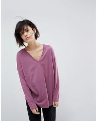 ASOS - Asos Top With V-neck In Oversized Lightweight Rib - Lyst
