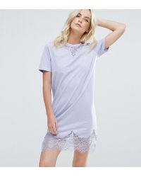 ASOS - T-shirt Dress With Lace Inserts - Lyst
