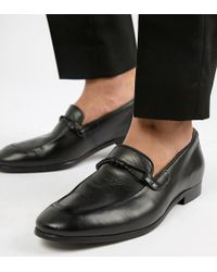 Dune - Wide Fit Loafers In Black Leather - Lyst