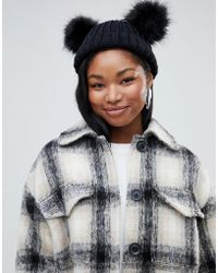 Miss Selfridge - Beanie Hat With Faux Fur Poms In Black - Lyst