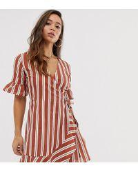 0911953d5afbc Boohoo - Wrap Mini Dress With Frill Detail In Stripe - Lyst