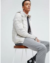 Bershka - Quilted Jacket With Detachable Hood In Light Grey - Lyst