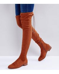1f4e41640 Asos Kilo Suede Flat Over The Knee Boots in Purple - Lyst