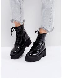 Sixtyseven - Chunky Sole Lace Up Boots - Lyst