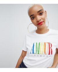 Boohoo - Rainbow Amour Slogan T-shirt - Lyst