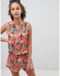 ONLY - Pineapple Print Playsuit - Lyst