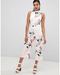 Coast - Scuba Jumpsuit In Floral Print - Lyst