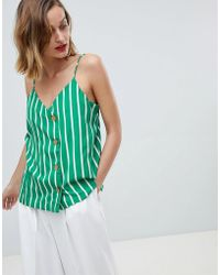 Mango - Bold Green Stripe Cami With Buttons In Green - Lyst