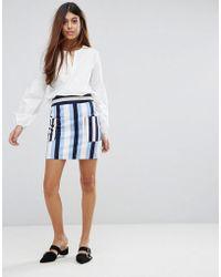 Warehouse - Stripe Pelmet Skirt - Lyst