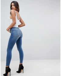 ASOS - Ridley High Waist Skinny Jeans With Popper Back Detail In Vintage Mid Blue - Lyst