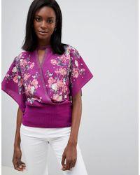 Oasis - Kimono Floral Wrap Top - Lyst