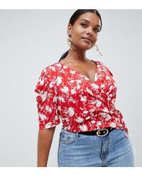 e695ff92960f7 ASOS - Asos Design Curve Top With Puff Sleeve And Wrap Detail In Red Base  Floral
