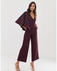 Lavish Alice - Tuta jumpsuit viola profondo con maniche drappeggiate - Lyst