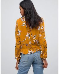 Vila - Floral Printed Front Knot Top - Lyst