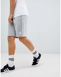 adidas Originals - 3-stripe Jersey Shorts In Gray Dh5803 - Lyst