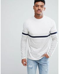 ASOS DESIGN - Relaxed Long Sleeve Raglan T-shirt With Colour Block In Interest Nepp Fabric - Lyst