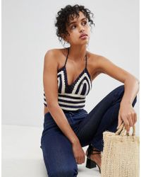 Pepe Jeans - Duna Crochet Knit Halterneck Crop Top - Lyst