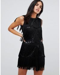 A Star Is Born - Frayed Embellished Mini Dress - Lyst