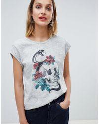 Mango - Skull Print Tshirt - Lyst