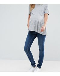 ASOS - Asos Design Maternity Tall Ridley Skinny Jeansin Mid Wash With Over The Bump Waistband - Lyst