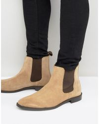 ASOS DESIGN - Chelsea Boots In Stone Suede With Back Pull - Wide Fit Available - Lyst