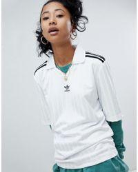 adidas Originals - Adicolor Three Stripe Football Jersey In White - Lyst