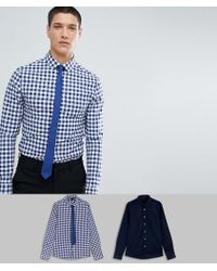ASOS - Design Skinny 2 Pack Navy Plain & Check Shirt With Navy Tie - Lyst