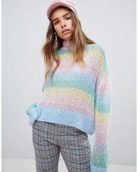 Lazy Oaf - Pastel Rainbow Stripe Fine Knit Jumper - Lyst