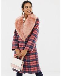 ASOS - Faux Fur Collar Check Coat - Lyst