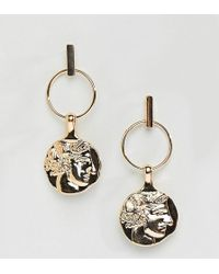 Reclaimed (vintage) - Inspired Gold Coin Earrings - Lyst