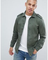 Replay - Star Embroidery Military Overshirt In Green - Lyst