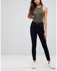 ASOS - Ridley High Waist Skinny Jeans With Detail In Raw Indigo With Tobacco Threads - Lyst