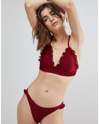 Lost Ink - Ruffle Trim Bikini Top - Lyst