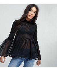 ASOS | Shirred Blouse With Fluted Sleeve | Lyst
