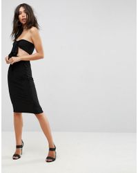 ASOS - Bow Front Bandeau Midi Dress - Lyst