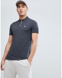 Abercrombie & Fitch - Stretch Pique Slim Fit Polo Icon Moose Logo In Charcoal Marl - Lyst