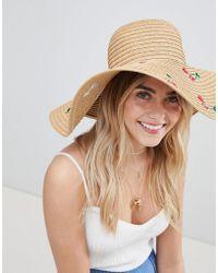 Monki - Cherry Embroidered Straw Sun Hat - Lyst