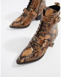 Office - Ambassador Leather Snake Lace Up Two Buckle Ankle Boot - Lyst