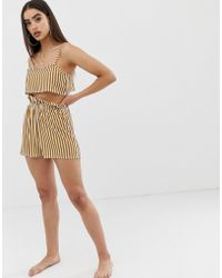 PrettyLittleThing - Co-ord Beach Shorts With Gathered Waist In Mustard Stripe - Lyst