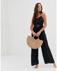 2398a807ca Fashion Union - Coriander Beach Jumpsuit In Black - Lyst