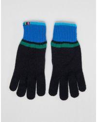 PS by Paul Smith - Lambswool Block Stripe Gloves In Black - Lyst