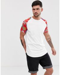 802e107d Jack & Jones - Originals Longline Curved Hem T-shirt With Floral Raglan -  Lyst