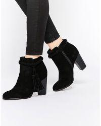 Faith - Suzie Black Tassel Suede Ankle Boots - Lyst