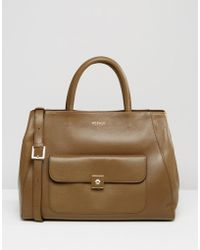 Modalu - Leather Large Tote Bag - Moss Green - Lyst