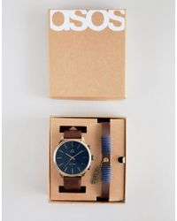 ASOS - Watch And Bracelet Set In Tan With Aztec Emboss And Feather - Lyst