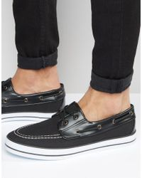ASOS - Boat Shoes In Black Canvas - Lyst